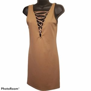 Forever 21 Tan Lace Up Bodycon Dress Stretch Sleev